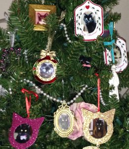 Pet loss during holidays-ornaments made to honor cats who have transitioned